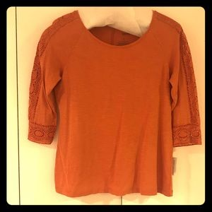 Sonoma Boho Chic Orange Lace 3/4 Sleeve Top